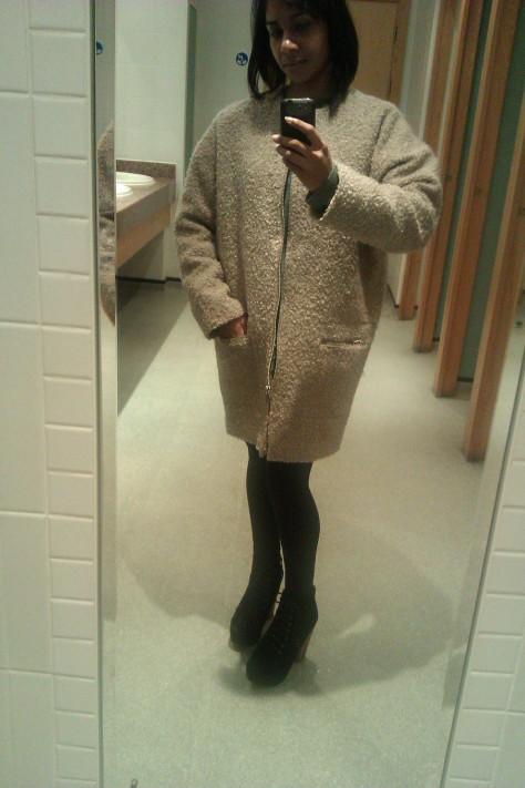 topshop cocoon coat beige