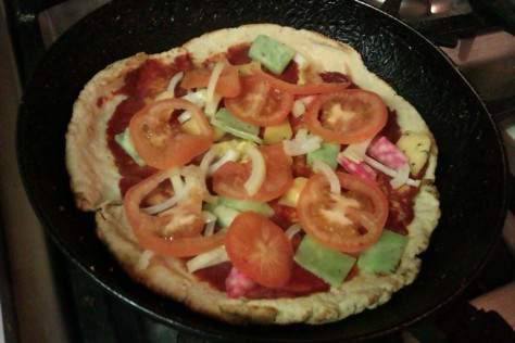 in the frying pan uncooked pizza