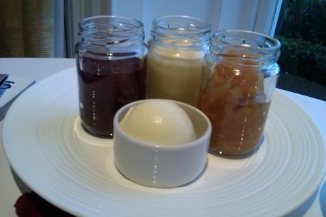 homemade preserves; strawberry jam, lemon curd, marmalade