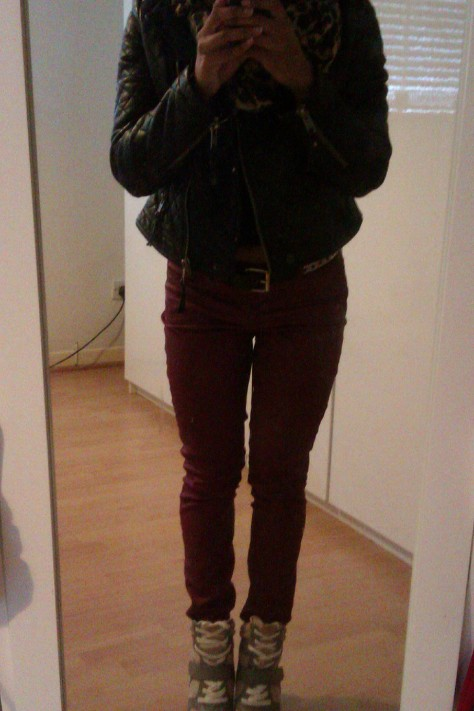 Blood red Jeans: Dorothy Perkins, Heeled trainers: Simmi, Quilted leather jacket: Next,