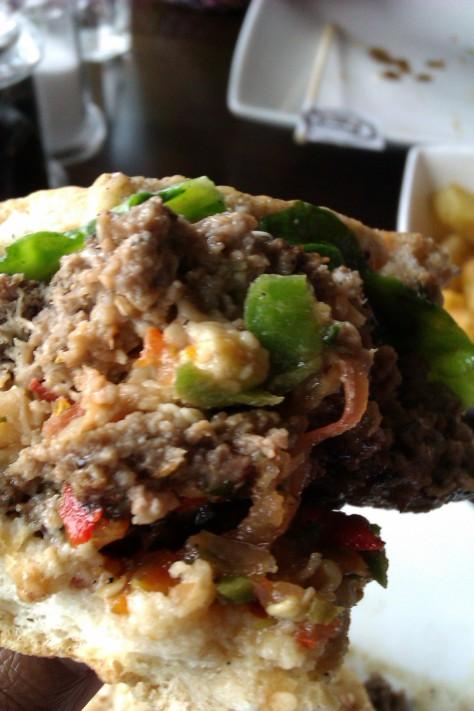 close up stuffed burger