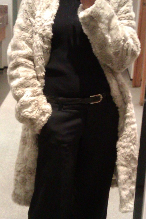 white fur coat black workwear