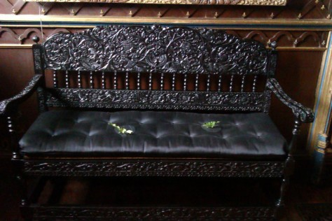 detailed black wooden bench
