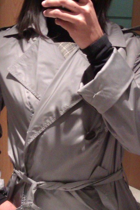 close up silver trench