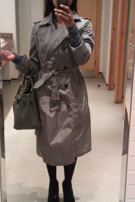 silver grey trench coat