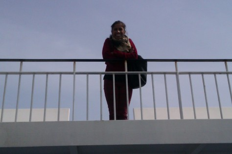 my sister on a ferry