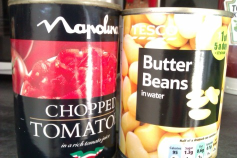 cans of tomato and beans