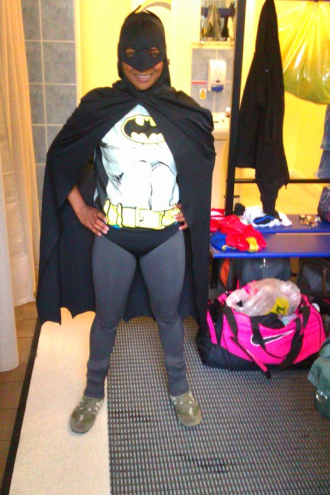 Batman in girls' locker room
