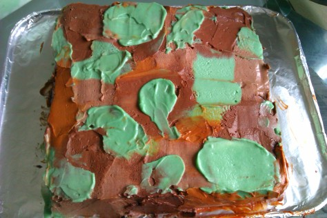 camouflage courgette cake