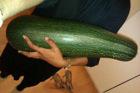 cradling a courgette