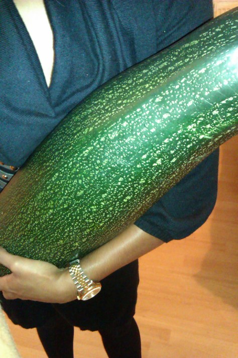 holding a giant courgette