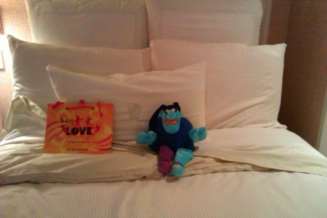 in bed with my souvenir from Beatles Love