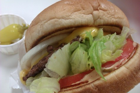 close up in and out burger
