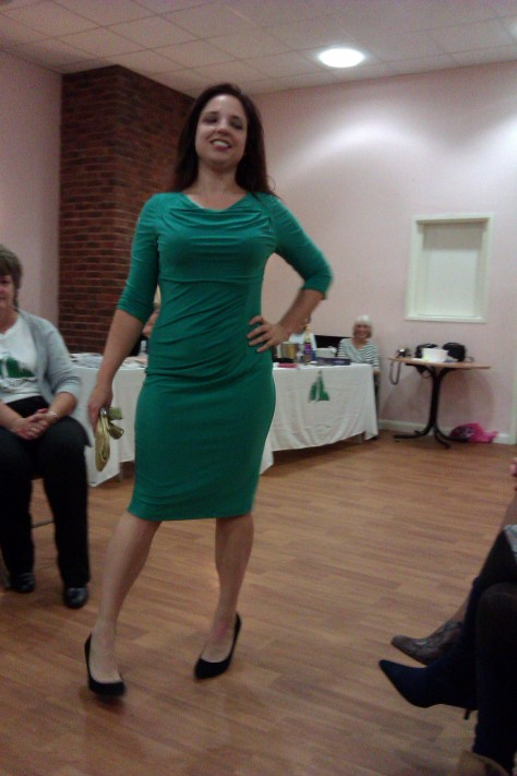 frimley fashion show - green dress
