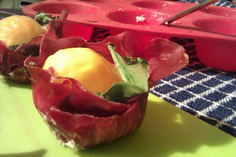 bresaola cups with salami and egg